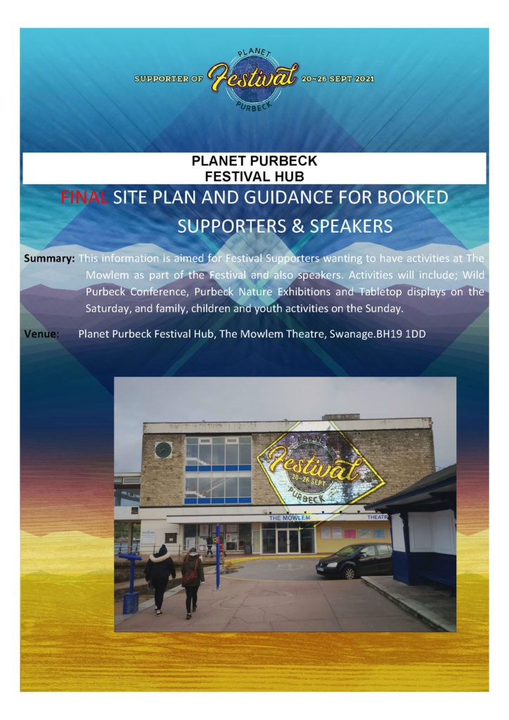 Table Top Plan and Guidance for Planet Purbeck Festival at The Mowlem